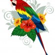 Parrot and tropical flowers - Stok Vektör