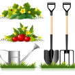 Stock Vector: Gardening related items