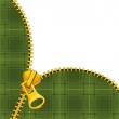 Zipper on tartan background — Stock Vector
