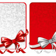 Set of bows with greeting cards — Stock Vector