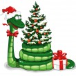 Christmas snake — Stock Vector