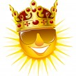 Sun in a golden crown - Stock Vector