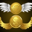 Money with wings - Stock Vector