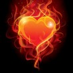 Flaming heart — Stock Vector