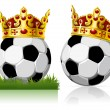 Soccer ball with a golden crown — Stock Vector