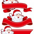 Christmas ribbon with santa claus - Stock Vector