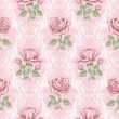 Stock Vector: Retro flower seamless pattern - roses