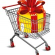 Shopping cart with a great gift — Stock Vector