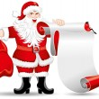 Santa Claus with a roll of paper — Stock Vector