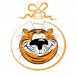 Funny tiger, the symbol of the new year — Stock Vector