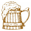 Royalty-Free Stock Vector Image: Wooden beer mug