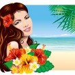 Girl on the beach — Stock Vector #16785801