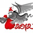 New year 2012 : Cheerful Dragon with a large christmas bag - Stock Vector
