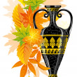 Antique amphora with autumn leaves — Vector de stock #16785833