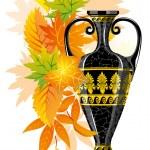 antigua ánfora con hojas de otoño — Vector de stock