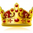 Gold crown with red gems - Stok Vektör