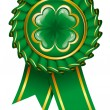 Green badge with clover to St. Patrick's Day - Stock Vector