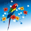 Parrot and tropical flowers - Stock vektor