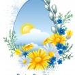 Easter banner with spring flowers - Stock Vector