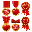 Medal heart — Stock Vector
