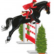 Jumping horse and jockey - Stock Vector