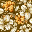 Seamless pattern with lilies — Vector de stock #16786577