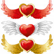 Set of hearts with wings — Stock Vector