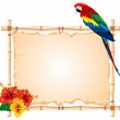 Parrot and bamboo frame — Stock Vector