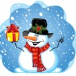 Snowman with gift — Stock Vector