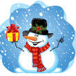 Snowman with gift — Stock Vector #16786743