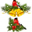 Bullfinch with Christmas bells - Stock Vector