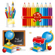 Back to school (set vector illustration) — Stock Vector