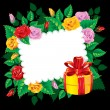 Post card decorated by flowers on the dark background - Imagens vectoriais em stock