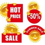 Sale tags with a sun — Stock Vector