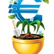 Euro is rising in the golden flower pot — Stock Vector
