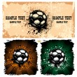 Soccer ball on grunge background — Stock Vector