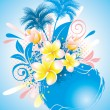 Background with flower plumeria - Vettoriali Stock