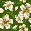 ストックベクタ: Seamless pattern with lilies