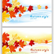 Cards with autumn leaves — Stock Vector