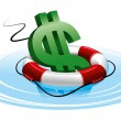 Dollar sign in the lifebuoy - Stock Vector