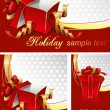 Set of backgrounds with gift boxes — Stock Vector