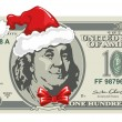 Dollar bill for Christmas — Stock Vector