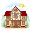 Cottage (detailed drawing) — Stock Vector
