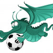 Dragon and soccer ball - Stock Vector