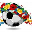 Soccer ball in a wreath of flowers — Stock Vector