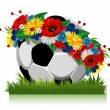 Soccer ball in a wreath of flowers - Stock Vector