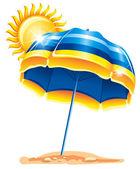 Umbrella on the beach — Stock Vector