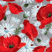 Excellent seamless pattern with with poppies and daisies — Stock Vector