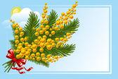 Boeket van mimosa en forget-me-not — Stockvector