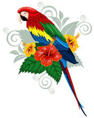 Parrot and tropical flowers — Stockvector